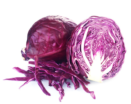 Photo pour Close up One Whole and a Slice of Fresh Purple Cabbage, an additional character and flavor to Salads, Isolated on White Background - image libre de droit