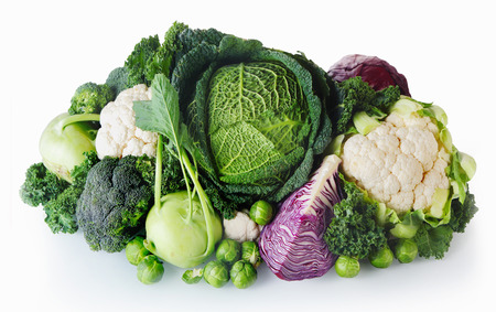 Photo pour Close up Healthy Fresh Farm Vegetables Isolated on White Background. Emphasizing Cabbage, Broccoli, Cauliflower and Brussels Sprout. - image libre de droit