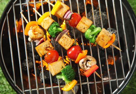 Foto per Three grilled tofu or bean curd kebabs with colorful diced vegetables on skewers cooking over a portable barbecue, overhead view - Immagine Royalty Free
