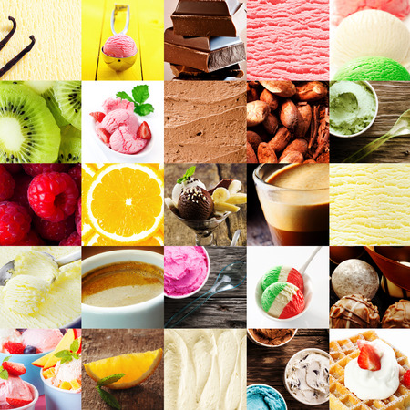 Italian ice cream dessert collage with a variety of different flavours with fresh tropical fruit, chocolate bonbons, cappuccino coffee, gelato, parfait, and waffle and cream for delicious summer treat