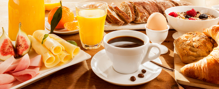 Photo for Full breakfast with figs, egg, meat, bread, coffee and juice - Royalty Free Image