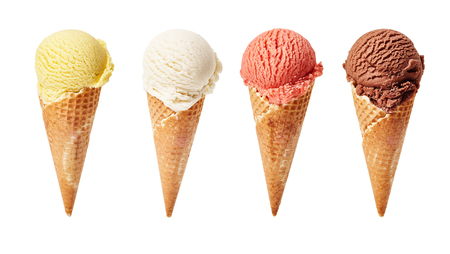 Photo for Various ice-cream scoops on white background with assorted balls of vanilla, chocolate, strawberry and butterscotch icecream in waffles. - Royalty Free Image