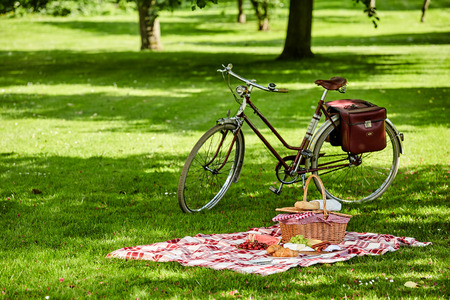 Photo pour Bicycle with saddlebags and picnic hamper with fresh fruit, cheese, sausages and bread spread out on green grass in a lush green park - image libre de droit