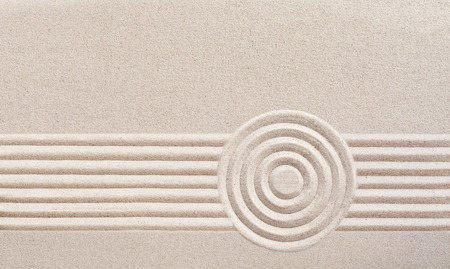 Photo pour Japanese zen garden with raked sand in a minimalist pattern of parallel lines and concentric circles for meditation - image libre de droit