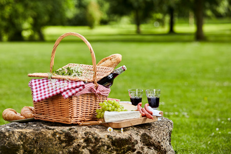 Photo pour Elegant picnic with red wine, fresh grapes, cheese, baguette and sausages arranged on a rustic stone table in a lush green spring or summer park, with copy space - image libre de droit