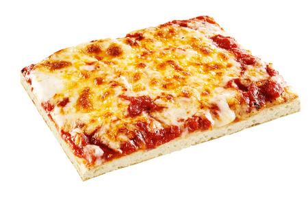 Photo pour Square slice of vegetarian mozzarella and cheddar cheese pizza with tomato sauce over white background - image libre de droit