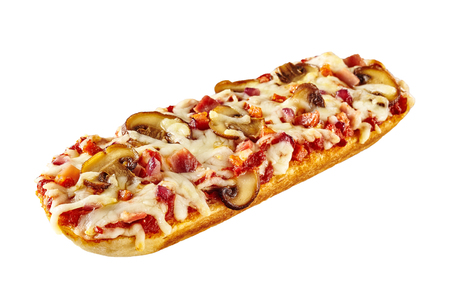 Foto de Toasted or grilled baguette topped with tomato, cheese and mushrooms for a delicious snack diagonally on white with copy space - Imagen libre de derechos