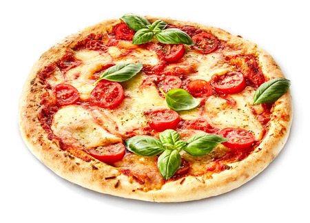 Foto de Margherita Italian pizza with melted mozzarella cheese and tomato garnished with fresh basil on a thick crust - Imagen libre de derechos
