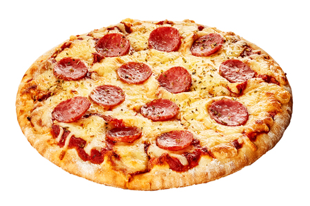 Foto de Italian pepperoni pizza with spicy sausage, mozzarella and tomato on a thick pie crust isolated on white viewed whole - Imagen libre de derechos