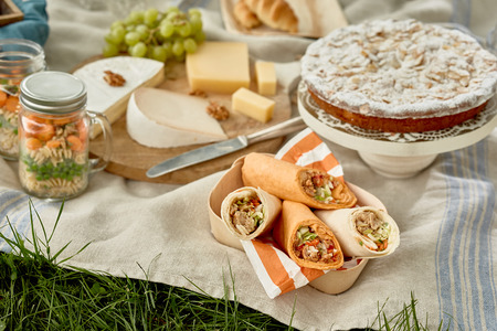 Photo pour Tasty country picnic with kebabs or wraps, cake for dessert, fruit, cheese and pickles on a tablecloth on green grass - image libre de droit
