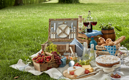 Photo pour Gourmet picnic lunch in a park spread on a rug around a hamper with wine, cheese, fresh fruit, , bread rolls, cake, pickles and wraps on green spring grass under a tree - image libre de droit