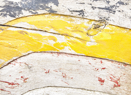 Photo for Wooden surface with peeling paint decorations, wavy carving texture and yellow paint remains. Close-up full frame artistic background concept - Royalty Free Image