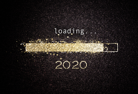 Photo pour 2020 New year background with loading bar of sparkling gold glitter counting down to the new year over a black background with copy space - image libre de droit