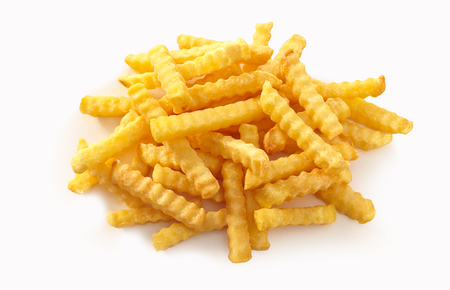 Photo for Stack of rippled fries on isolate white background. - Royalty Free Image
