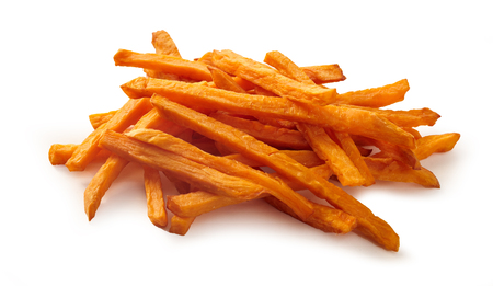 Photo for Stack or pile of spicy sweet potato french fries or chips on white background. - Royalty Free Image