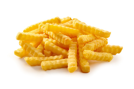 Photo for Pile of golden crispy crinkle cut Pommes Frites, French Fries or potato chips on a white background suitable for advertising and a menu - Royalty Free Image