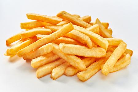 Photo pour Heap of long french fries on white background. - image libre de droit