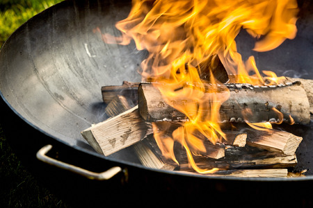 Photo for Pieces of wood on fire sitting in black metal barbecue with small green patch of grass in background corner - Royalty Free Image