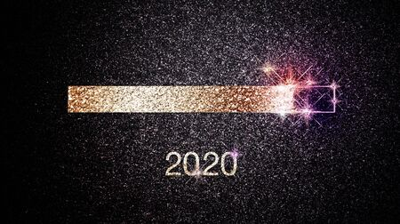 Foto per Progress bar of 2020 New Years eve with festive sparkling lights and stars on dark night background - Immagine Royalty Free