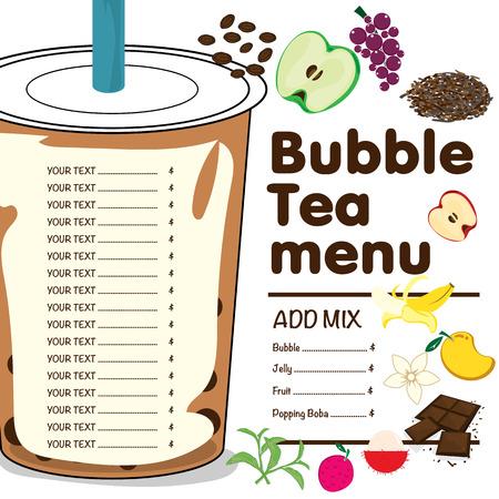 Ilustración de bubble tea menu graphic template - Imagen libre de derechos
