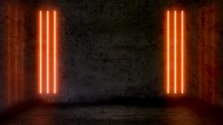 Foto de Empty dark abstract room with orange fluorescent neon lights. Stage, scene and night club party concept background with copy space for text or product display. - Imagen libre de derechos