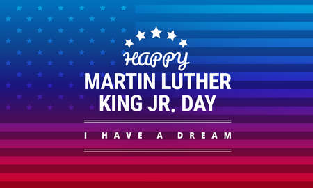 Ilustración de Martin Luther King Jr Day greeting card, I have a dream inspirational quote in horizontal blue and red background banner with US flag vector. - Imagen libre de derechos