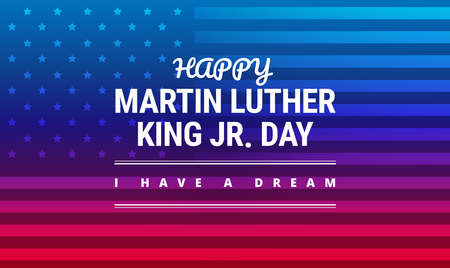 Ilustración de Martin Luther King Jr Day greeting card, I have a dream inspirational quote, horizontal blue and red background banner with US flag vector. - Imagen libre de derechos