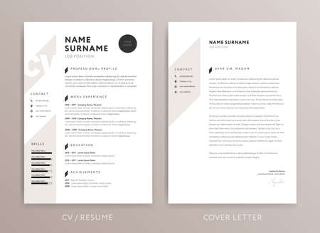 Illustration for Stylish CV design - curriculum vitae cover letter template - rose brown color background - vector - Royalty Free Image