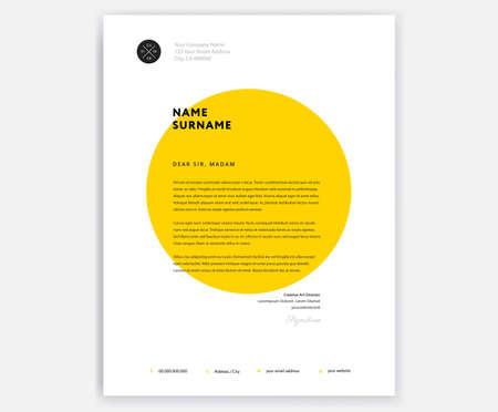 Illustration pour Creative letterhead template design  yellow cover letter vector sample illustration - image libre de droit