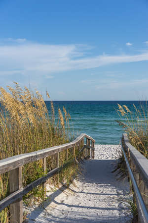 Photo for Sandy boardwalk path to a snow white beach on the Gulf of Mexico with ripe sea oats in the dunes - Royalty Free Image
