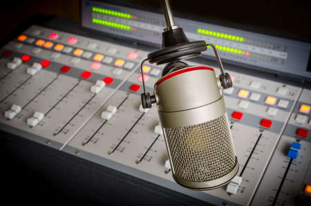 Photo for audio console and microphone in radio studio - Royalty Free Image