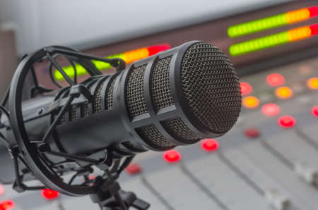 Photo for For radio stations: professional microphone in radio studios - Royalty Free Image