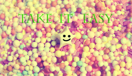 Photo pour take it easy  ,smile star and colorful beads - image libre de droit