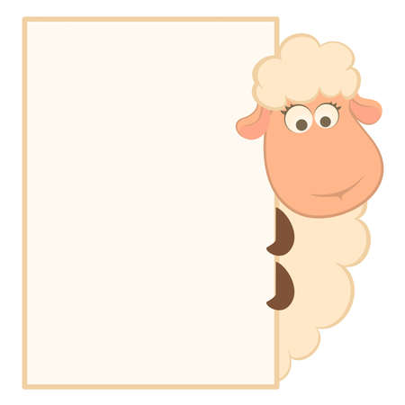 illustration of cartoon sheep with frame