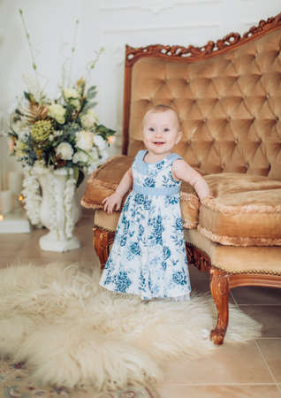 Photo for Beautiful little girl in blue dress - Royalty Free Image