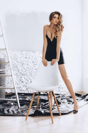 Foto de Sexy beautiful woman in black underclothes - Imagen libre de derechos
