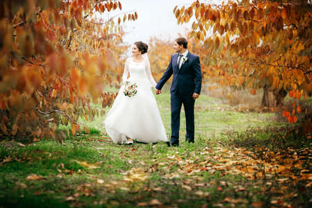 Photo for Bride and Groom at Wedding Day walking Outdoors on autumn nature. Bridal couple, Happy Newlywed woman and man embracing in autumn park. Loving wedding couple outdoor. - Royalty Free Image