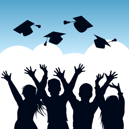 Illustration pour Happy students throwing graduation caps in the air. Silhouettes of graduates. Vector illustration - image libre de droit