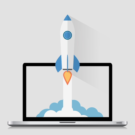 Ilustración de Start Up Concept Space Roket Modern Flat Design - Imagen libre de derechos
