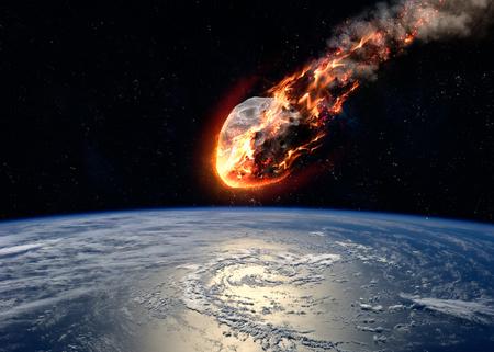 Photo pour A Meteor glowing as it enters the Earth\'s atmosphere. - image libre de droit
