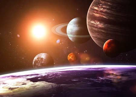 Photo pour Solar system and space objects.  - image libre de droit