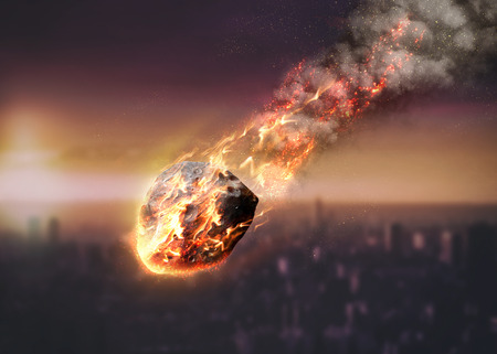 Photo pour Meteor glowing as it enters the Earth's atmosphere. Elements of this image furnished by NASA - image libre de droit