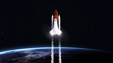 Foto de 5K resolution image of Space shuttle taking off on mission.   - Imagen libre de derechos