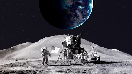Photo pour Astronaut on the moon.   - image libre de droit