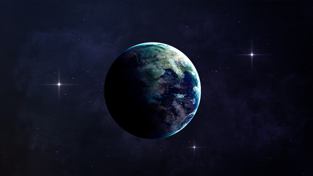 Photo pour High Resolution Planet Earth view. The World Globe from Space in a star field showing the terrain and clouds.  - image libre de droit
