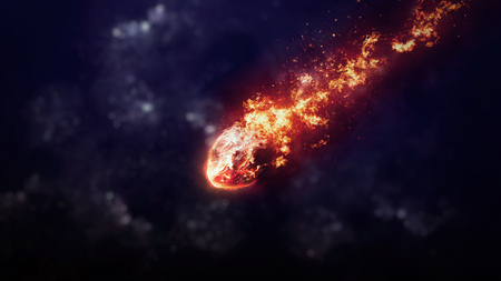 Photo pour A Meteor glowing as it enters the Earth's atmosphere. Elements of this image furnished by NASA - image libre de droit