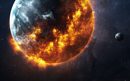 Photo pour Abstract apocalyptic background - burning and exploding planet . - image libre de droit
