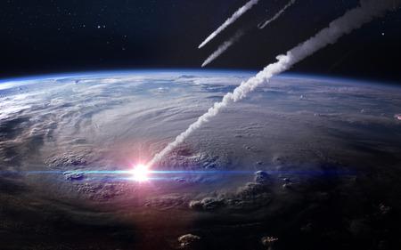 Photo pour Meteor shower in the Earth's atmosphere. - image libre de droit
