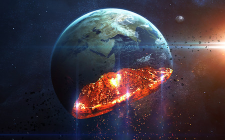 Photo pour Apocalyptic background - planet Earth exploding, armageddon illustration, end of time. Elements of this image furnished by NASA - image libre de droit