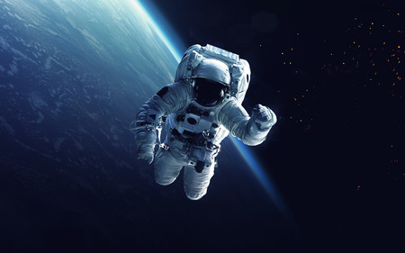 Photo for Astronaut at spacewalk. Cosmic art, science fiction wallpaper. Beauty of deep space. Billions of galaxies in the universe. - Royalty Free Image